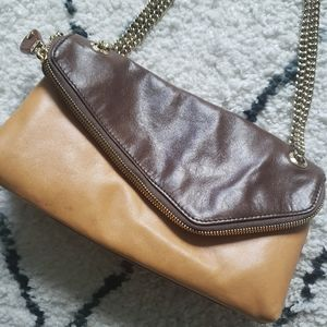 Henri Bendel Brown And Yellow Leather Shoulder Bag